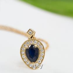 Pear shaped black diamond necklace white or yellow 14K gold, Halo pendant, white diamonds