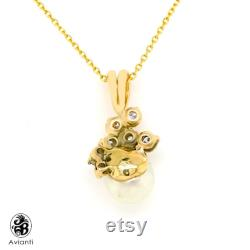 Pearl Pendant, Vintage White Cultured Pearl With Diamonds,Solitaire Pearl pendant with Diamonds, Vintage Yellow Gold Pearl pendant NEC02364