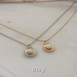 Pearl in SeaShell Pendant Cockle Shell Necklace AAA Quality Pearl in Oyster Clam Oceanic Nautical Charm Pendant with Gold Chain Necklace