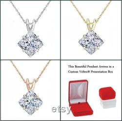 Pendant Princess Cut Angled Design Pendant 2.00 Carat Necklace With Chain Solid 14K Gold