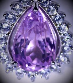 Pink Kunzite Pendant, Pink Kunzite 5.65ct White Gold Finish Solid 925 Sterling Silver Pendant, Natural and Untreated, Pear Shaped, VVSIF,