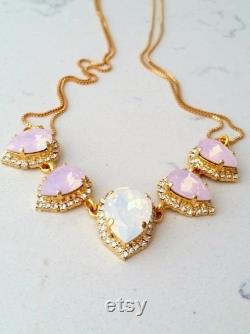 Pink opal necklace,White Opal necklace,Opal Bridal necklace, Statement necklace,Bib necklace,Bridesmaid gift,Wedding jewelry