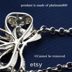 Platinum900 Tahitian Pearl Pendant Necklace 58cm 22.8 , Finest Luster and Rare Bluish Silver, One of a Kind, for Women
