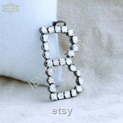 Polki Diamond Initial Pendant, silver Diamond Pendant, Diamond B Initial Pendant, 925 Silver Diamond Pendant, Diamond Initial Pendant