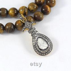Polki Diamond Pendant, Natural Rose Cut Diamond Pendant Necklace, Big Polki Diamond Pendant,925 Sterling Silver, Beautiful Handmade Pendant