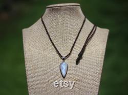 RAINBOW MOONSTONE Necklace,moonstone jewelry,Elven Jewelry,Sterling Silver Pendant,Shibari Macrame Cord,crystal healing,pixie clothing,Lark