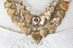 RESERVED for SW installments Huge Family tree photo loaded heart locket assemblage necklace vintage antique heart statement stunning double