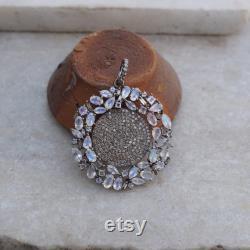 Rainbow Moonstone Pave Diamond Round Silver Pendant Necklace Jewelry PEMJ-1002