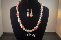 Rainbow jade Crackle crystal Watermelon Tourmaline and peridot Necklace