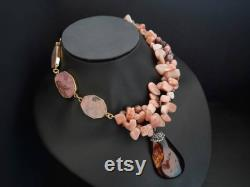 Raw moonstone rhodonite necklace Chunky statement beaded necklace Unusual big bold necklace Large bib necklace Modern pendant necklace Gift