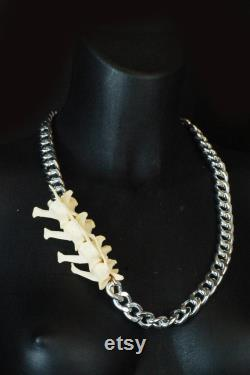 Real Fox Vertebrae Chunky Necklace