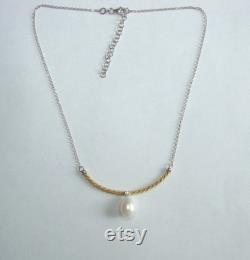 Real Natural Big Teardrop Pearl 925 Sterling Silver Gold Curve Bar Necklace