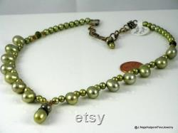 Real Pearl Necklace, Elegant Pearl Choker, Freshwater Pearls, Gold and Pearls, Elegant Gift For Her, Sage Green Baroque, Cultured Pearls