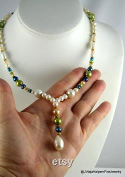 Real Pearl Necklace, Large White Pearl, 14K Gold Necklace, Freshwater Pearls, Turquoise Blue, Genuine Pearls, Pendant and Necklace, Wedding
