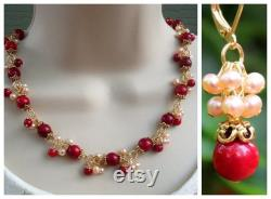 Red Coral Cluster Necklace.Dangle Earrings.Jewelry Set.Pearl.Gold.Silver.Bridal.Cluster.Statement.Choker.Chunky.Colorful.Holiday.Handmade.