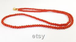 Red Coral Gold 18kt Necklace 1st Quality Mediterranean Collier Corail Rouge Korallenkette Koraal Natural Genuine Not Dyed Certificate