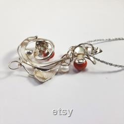 Red Coral Pearls Pendant Silver MieleCorals Italian Jewelery Pendentif Corail Korallenanhanger Certificate
