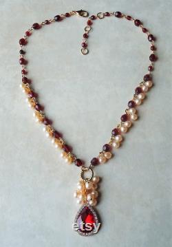 Red Garnet Crystal Pendant Necklace.Freshwater Pearls.Cluster.Gemstone.Beaded.Gold.Metal.Statement.Bridal.Ruby.Bridesmaid.Gift.Handmade.