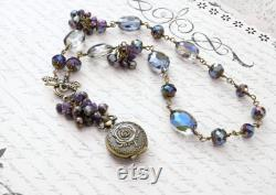 Rose Necklace, Steampunk Necklace, Victorian Necklace, Amethyst Necklace, Feminine Steampunk Limited Edition 1 of 5