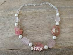 Rose Quartz and Pearls Necklace. Pink Necklace. Special occasions Necklace. One of a Kind Necklace. Necklace for Women. Silver Necklace