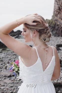 Rose gold backdrop necklace, freshwater pearl rose gold necklace, pearl bridal jewelry, bridal jewellery, leaves, leaf vine, back drop