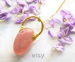 Rose quartz pendant necklace rose quartz tumble Electroformed 24k gold plating