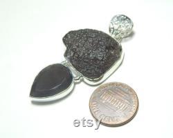 Rough and Faceted Pear Saffordite (cintamani) Stone 925 Sterling Silver Pendant Jewelry, Unique Pendant, Cintamani Pendant.