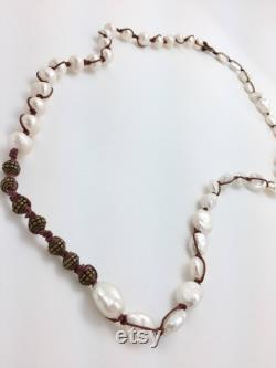 Round and Keshi Pearl Hemp Necklace with Brass Accents