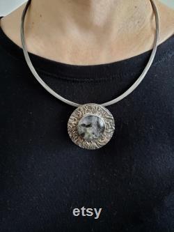 Rutilated Quartz Pendant. Sterling Silver Pendant. Handmade Pendant. Big Stone Pendant. Unique Pendant. Christmas Present. Unisex