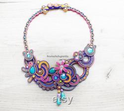 SALE 20 Colorful soutache necklace