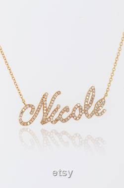 Script nameplate necklace, 14k Gold Diamond nameplate Letter necklace, Personalized Name Necklace, Mom Gift, Custom Name Necklace Gift