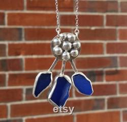 Sea Glass Necklace Sea Glass Jewelry Sterling Silver Statement Necklace Romanian Folklore Necklace Beach Glass Necklace Seaglass