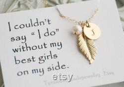 Set of 5,Gold feather necklace,gold initial necklace,Custom font monogram,custom birthstone,Fall Autumn Wedding gift,Bridesmaid Gift