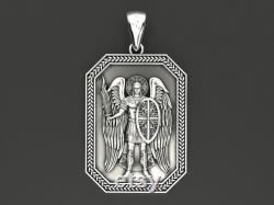 Silver Guardian Angel Pendant,Archangel Saint Michael Silver Medallion,Necklaces,St Micheal Necklace,St Michael Is Commander Of Army Pendant