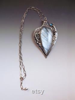 Silver Labradorite Necklace- London Blue Topaz- Silver Statement Necklace by RedPaw
