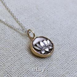 Silver Lotus Pendant, Silver and 14k Gold Lotus Blossom Token Necklace, Dimensional Charm, Hand Forged Fine Silver, Unique Gift for Her