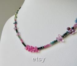Solid 18 karat and SAPPHIRE and TOURMALINE Natural Gemstone Necklace in Multi Colors