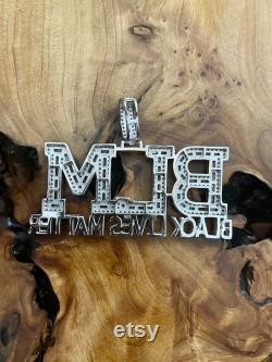 Solid 925 Sterling Silver Iced Out Black Lives Matter Pendant, Pave Set Round Simulated Diamonds Men's Hip Hop Pendant