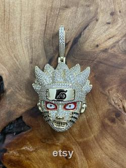 Solid 925 Sterling Silver Iced Out Naruto Uzumaki Pave Set Round Simulated Diamonds Men's Hip Hop Pendant