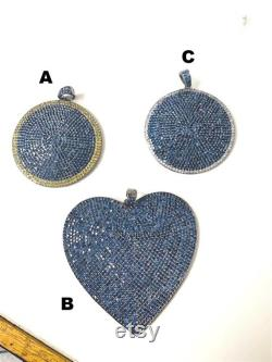 Solid 925 sterling silver black finish diamond and natural sapphire pendant 45mm round and 70mm heart