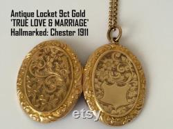 Solid 9ct Gold Antique Locket, Necklace, Valentines Day Gift for Wife, 9K Antique Jewelry Pendant