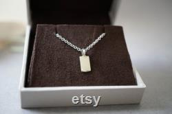 Solid gold tag pendant Tag necklace gold 14k gold necklace tag Small gold tag necklace Charm pendant necklace Tiny 14k gold charm