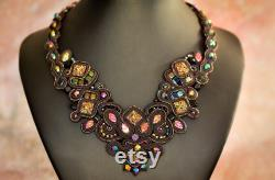 Soutache black necklace with beautiful colorful cabochons, collier necklace, collar necklace beaded, art jewelry, gift for her