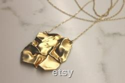 Square Pendant Necklace, Long Necklace for Women, Modern Gold Necklace, Unique Statement Necklace, Unique Gold Jewelry, Wrinkled Necklace
