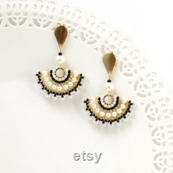 Statement black gold necklace for special occasion, Spiral hand beaded necklace,