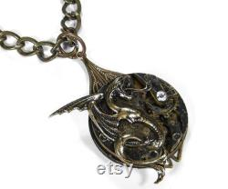 Steampunk Jewelry Necklace GRUNGE Pocket Watch UNISEX Men Womens Winged GRIFFiN DRAGON Rocker Punk Burning Man Mythical Gift by edmdesigns