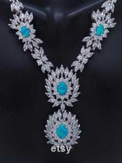 Sterling Silver 925 22.00ctw Oval Opal withCZ Accents Statement Drop Necklace-19 7974