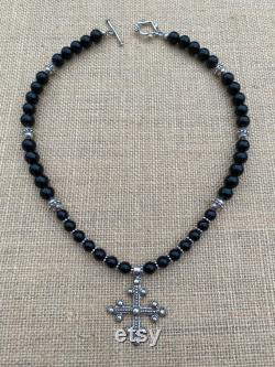 Sterling Silver Antique Replica Old Coptic Trinity Cross Pendant on Black Obsidian Gemstone Necklace, Original Holy Moments Artisan Design