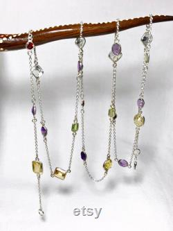 Sterling Silver Beaded Necklace with Natural Garnet, Amethyst, Peridot, Quartz and Citrine, Appraised 630 USD
