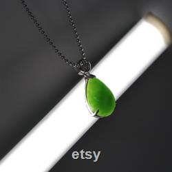 Sterling Silver Genuine Nephrite Green Jade Classic Pendant Necklace Real Jade Jewelry Gift For Her Antique Style For Birthday, Love